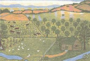 Farmscape: an organic apple orchard -- illustration from the cover of Laura Ingalls Wilder: Little House in the Ozarks: The Rediscovered Writings